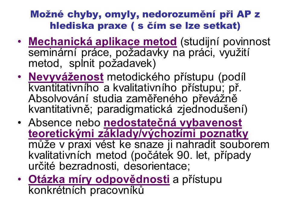 Možné chyby, omyly, nedorozumění při AP z hlediska praxe ( s čím se lze setkat) Mechanická aplikace metod (studijní povinnost seminární práce, požadav