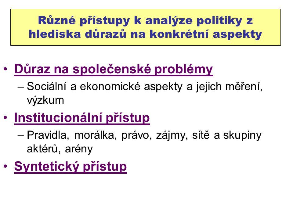Různé přístupy k analýze politiky z hlediska důrazů na konkrétní aspekty Důraz na společenské problémy –Sociální a ekonomické aspekty a jejich měření,