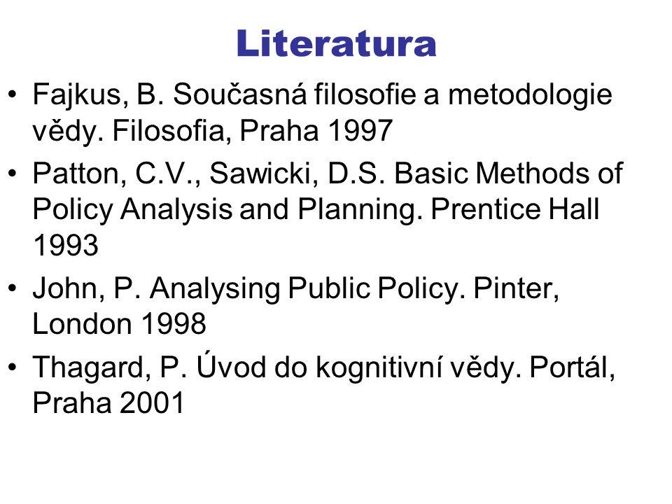 Literatura Fajkus, B. Současná filosofie a metodologie vědy. Filosofia, Praha 1997 Patton, C.V., Sawicki, D.S. Basic Methods of Policy Analysis and Pl