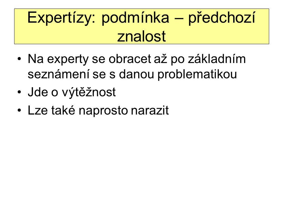Expertízy: podmínka – předchozí znalost Na experty se obracet až po základním seznámení se s danou problematikou Jde o výtěžnost Lze také naprosto nar