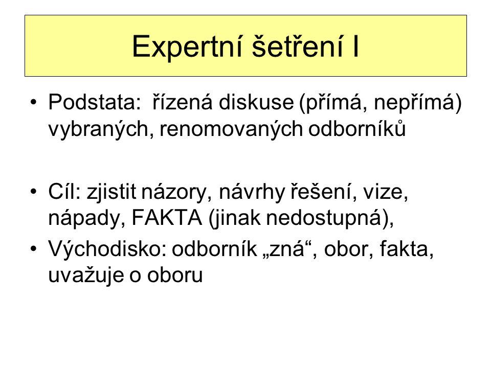 Expertní šetření I Podstata: řízená diskuse (přímá, nepřímá) vybraných, renomovaných odborníků Cíl: zjistit názory, návrhy řešení, vize, nápady, FAKTA