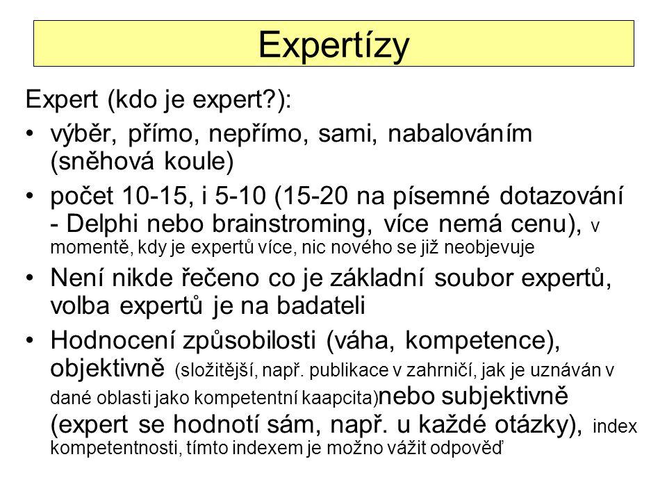 Expertízy Expert (kdo je expert?): výběr, přímo, nepřímo, sami, nabalováním (sněhová koule) počet 10-15, i 5-10 (15-20 na písemné dotazování - Delphi