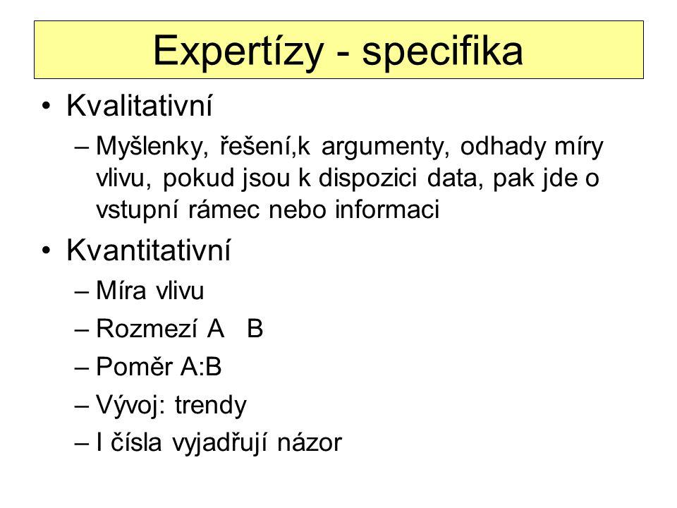 Expertízy - specifika Kvalitativní –Myšlenky, řešení,k argumenty, odhady míry vlivu, pokud jsou k dispozici data, pak jde o vstupní rámec nebo informa