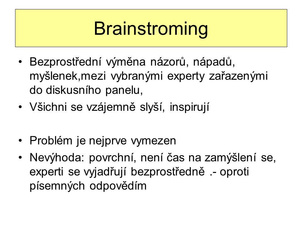 Brainstroming Bezprostřední výměna názorů, nápadů, myšlenek,mezi vybranými experty zařazenými do diskusního panelu, Všichni se vzájemně slyší, inspiru
