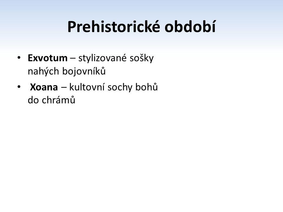 Kůros – nahý stojící mladík, paže podél těla, ruce v pěst, kontrapost, vlasy dekor, obličej bez výrazu, archaický úsměv, mandlové oči symbol dórského řádu Kora – socha věnovaná bohům Archaické období http://commons.wikimedia.org/wiki/File:Kouros_of_Naucratis.jpg?uselang=cs