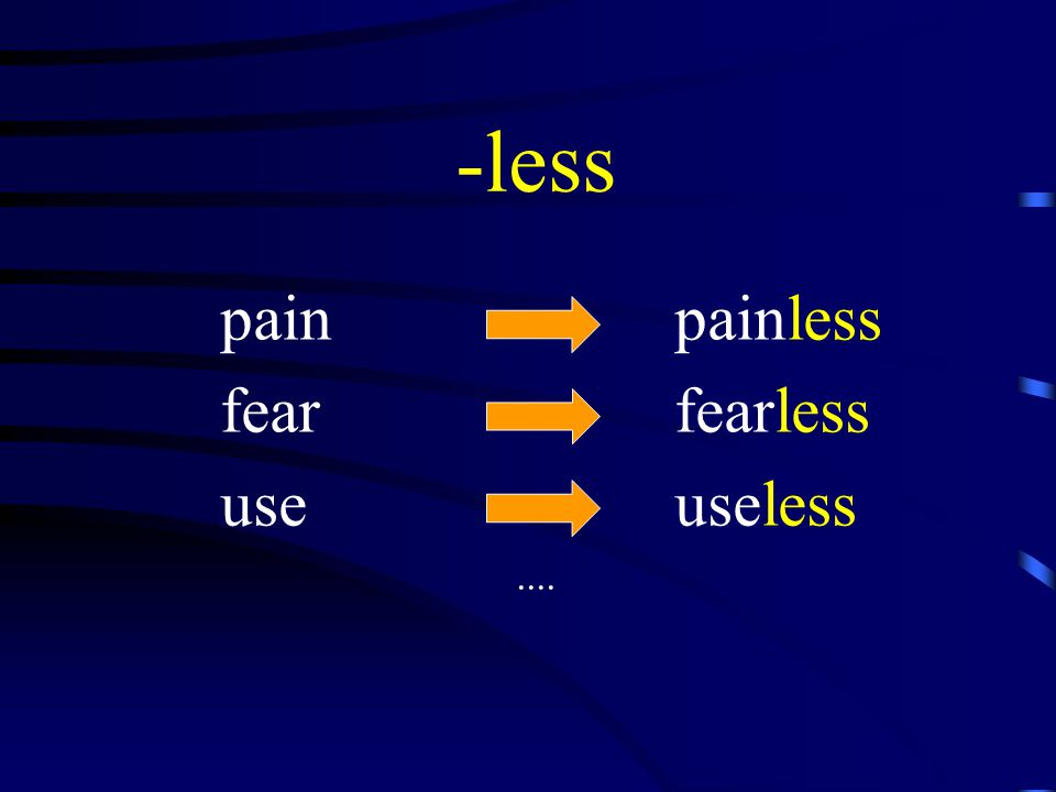 -less pain painless fear fearless use useless....