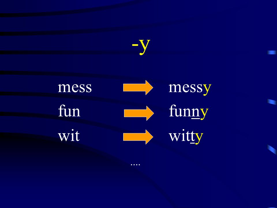 -y mess messy fun funny wit witty....