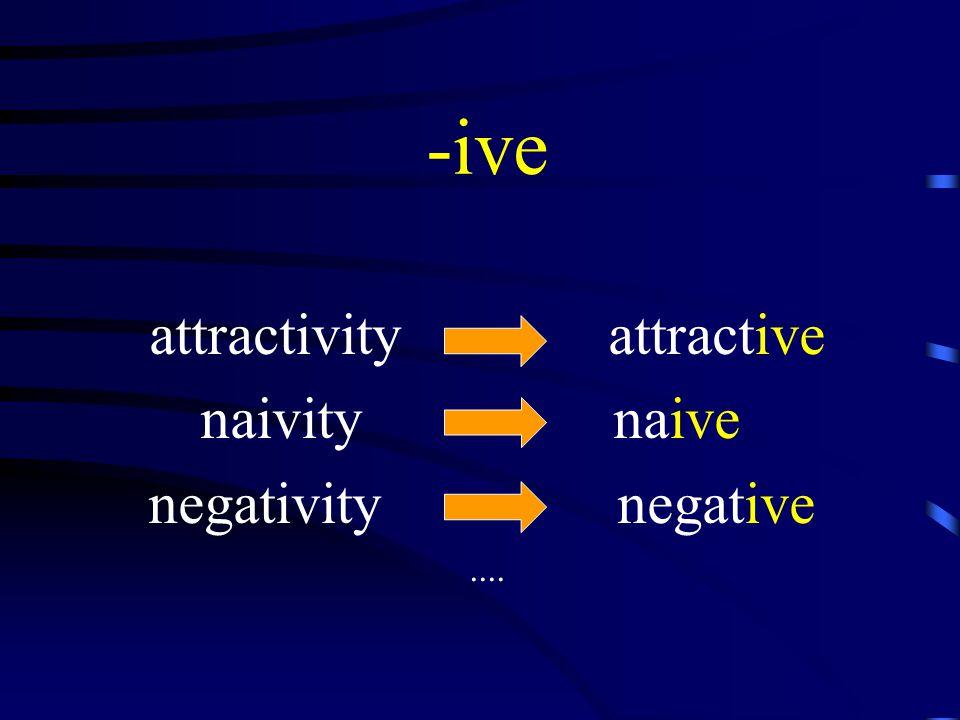 -ive attractivity attractive naivity naive negativity negative....