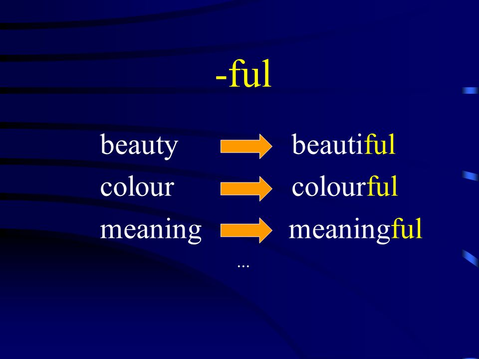 -ful beauty beautiful colour colourful meaning meaningful...