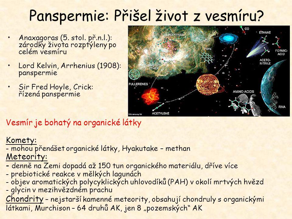 Panspermie: Přišel život z vesmíru? Anaxagoras (5. stol. př.n.l.): zárodky života rozptýleny po celém vesmíru Lord Kelvin, Arrhenius (1908): panspermi