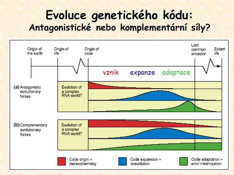 Evoluce genetického kódu: Antagonistické nebo komplementární síly? vznik expanze adaptace