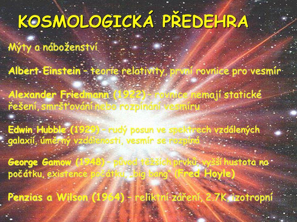 Velký třesk a rozpínání vesmíru Velký třesk (Big bang): - singularita - neplatí fyzikální zákony - vznik prostoru, času a hmoty - reliktní záření, inflace Otázka vzniku času: - Aristoteles - křesťanství - kosmologie - teorie strun - vesmíry propojeny - liší se konstantami a zákony, počty rozměrů inflace Temná hmota, temná energie