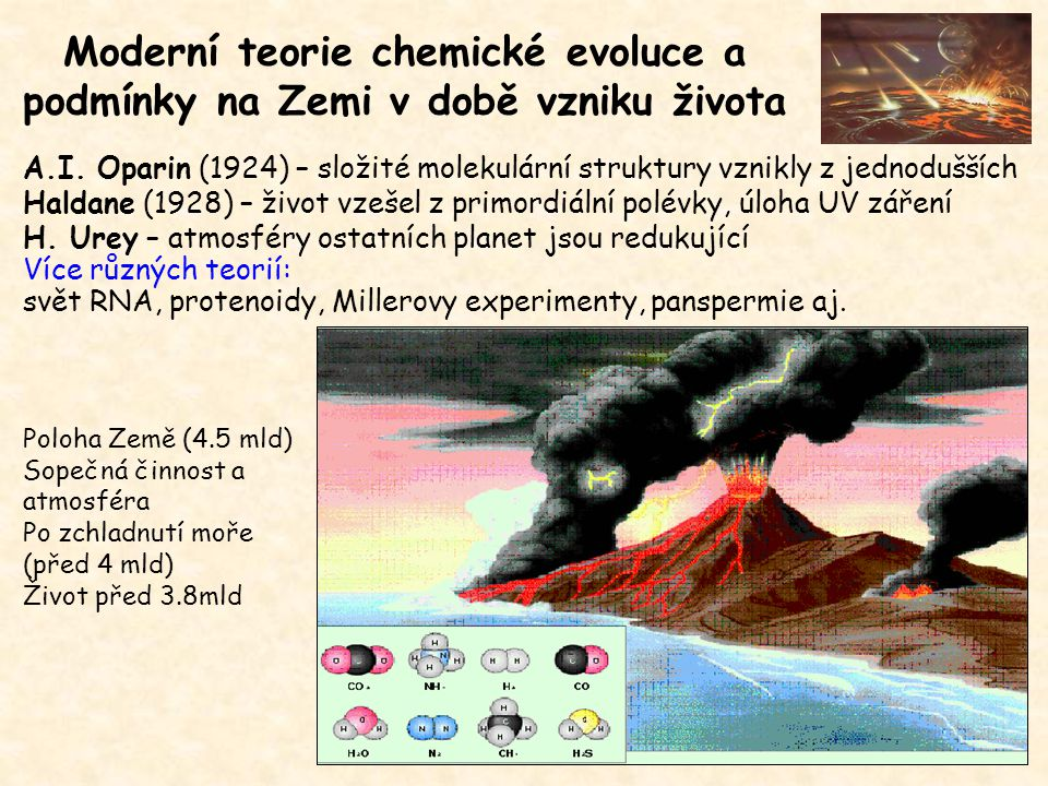 Urey-Millerův experiment vodní pára (H 2 O) amoniak (NH 3 ) metan (CH 4 ) vodík (H 2 ) dusík (N 2 ) oxid uhličitý (CO 2 ) Modifikace: 1.