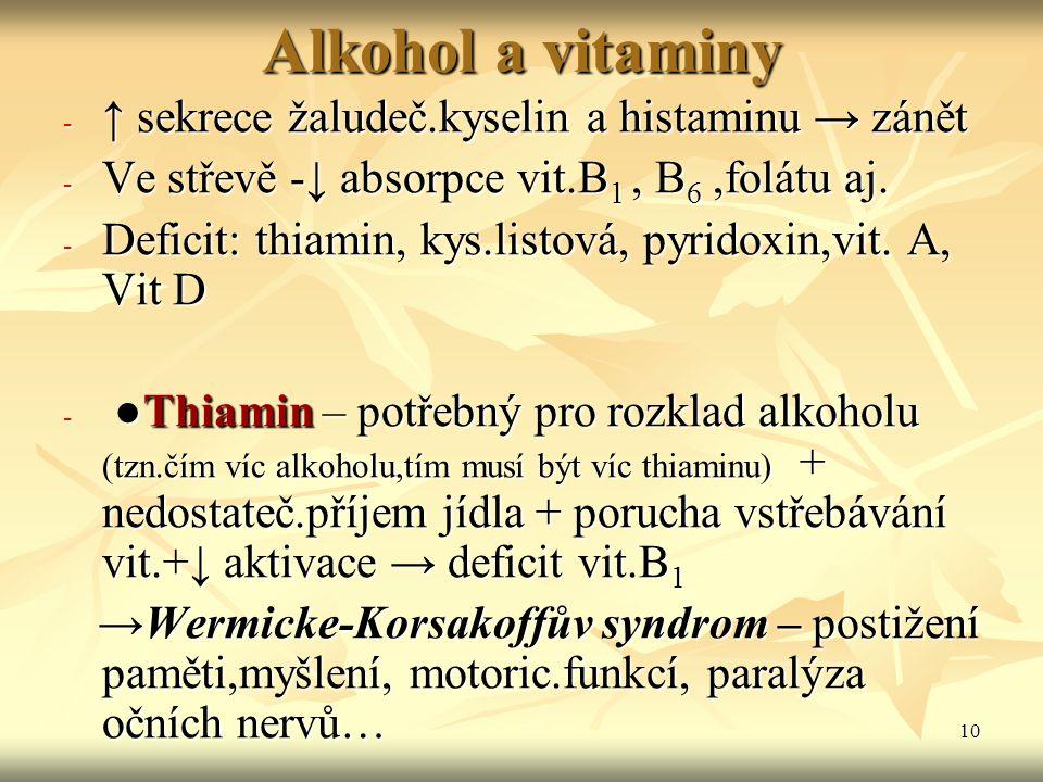 10 Alkohol a vitaminy - ↑ sekrece žaludeč.kyselin a histaminu → zánět - Ve střevě -↓ absorpce vit.B 1, B 6,folátu aj. - Deficit: thiamin, kys.listová,