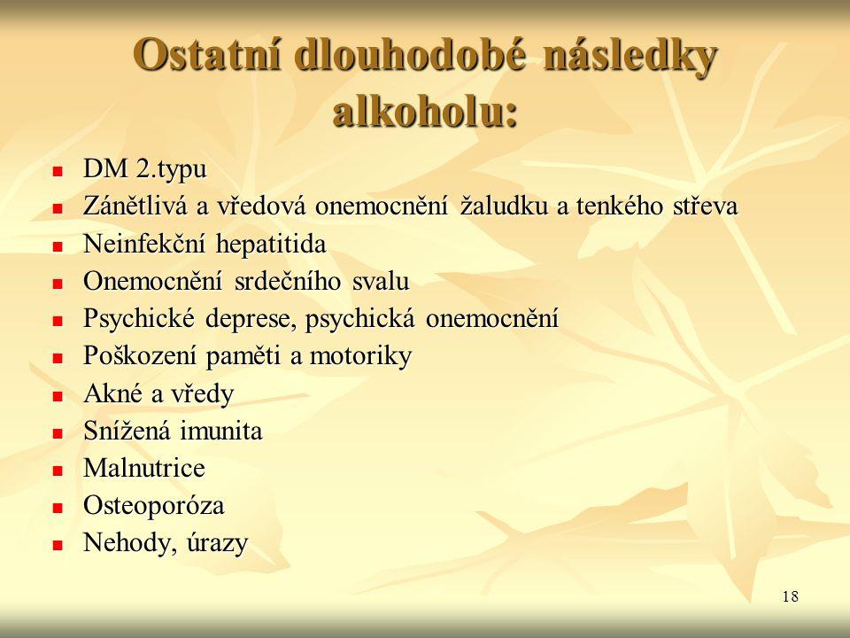 18 Ostatní dlouhodobé následky alkoholu: DM 2.typu DM 2.typu Zánětlivá a vředová onemocnění žaludku a tenkého střeva Zánětlivá a vředová onemocnění ža
