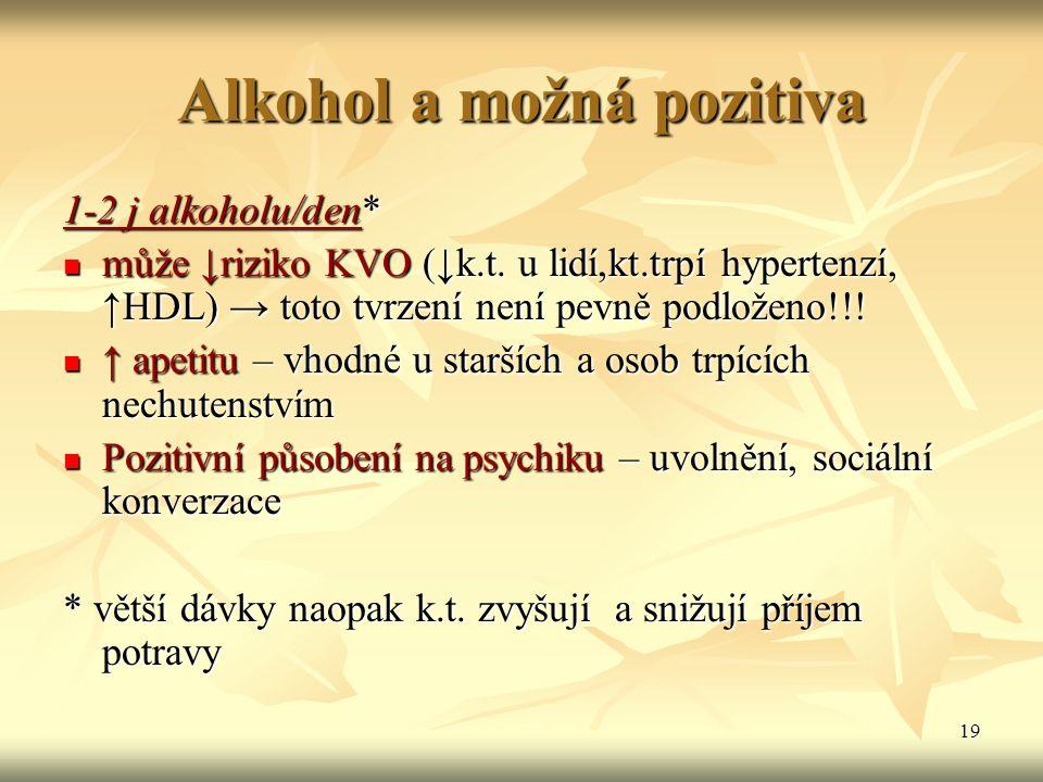 19 Alkohol a možná pozitiva 1-2 j alkoholu/den* může ↓riziko KVO (↓k.t. u lidí,kt.trpí hypertenzí, ↑HDL) → toto tvrzení není pevně podloženo!!! může ↓