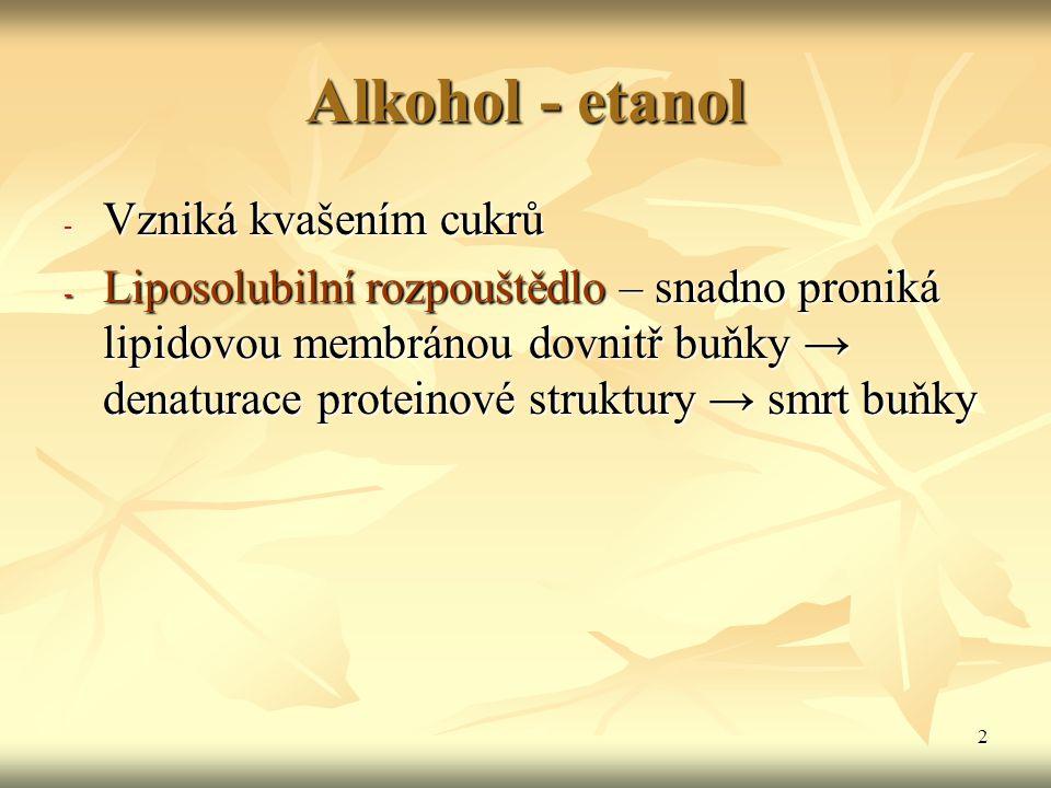 2 Alkohol - etanol - Vzniká kvašením cukrů - Liposolubilní rozpouštědlo – snadno proniká lipidovou membránou dovnitř buňky → denaturace proteinové str