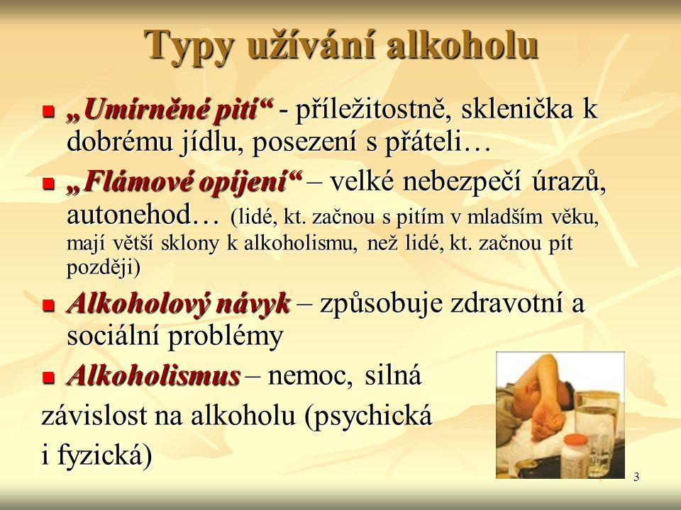 """3 Typy užívání alkoholu """"Umírněné pití"""" - příležitostně, sklenička k dobrému jídlu, posezení s přáteli… """"Umírněné pití"""" - příležitostně, sklenička k d"""
