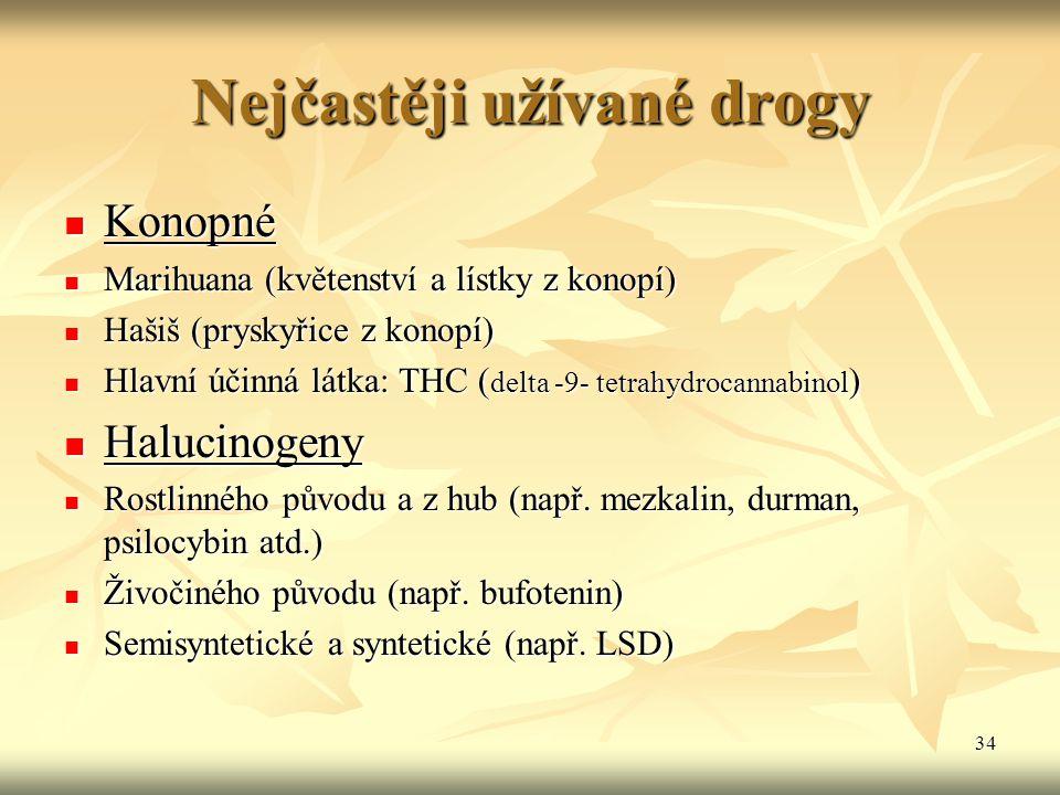 34 Nejčastěji užívané drogy Konopné Konopné Marihuana (květenství a lístky z konopí) Marihuana (květenství a lístky z konopí) Hašiš (pryskyřice z kono