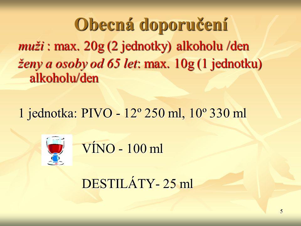 5 Obecná doporučení muži : max. 20g (2 jednotky) alkoholu /den ženy a osoby od 65 let: max. 10g (1 jednotku) alkoholu/den 1 jednotka: PIVO - 12º 250 m