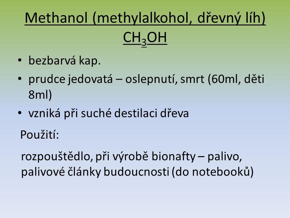 Methanol (methylalkohol, dřevný líh) CH 3 OH bezbarvá kap.
