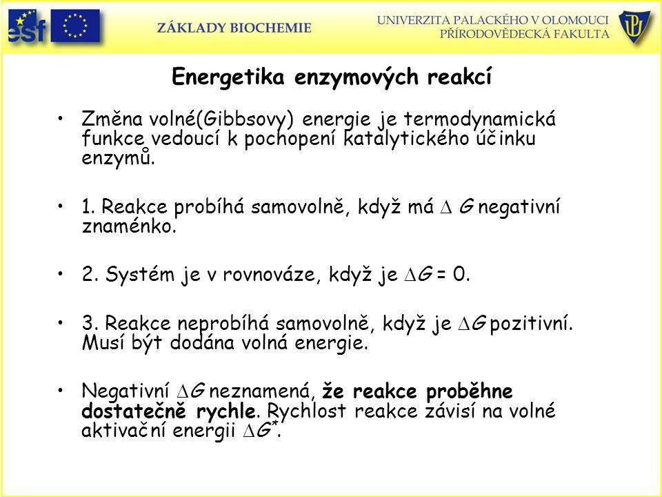Energetika enzymových reakcí Změna volné(Gibbsovy) energie je termodynamická funkce vedoucí k pochopení katalytického účinku enzymů. 1. Reakce probíhá