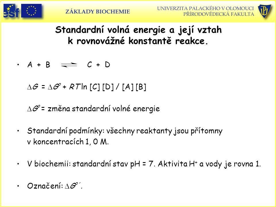 Standardní volná energie a její vztah k rovnovážné konstantě reakce. A + B C + D  G =  G o + RT ln [C] [D] / [A] [B]  G o = změna standardní volné