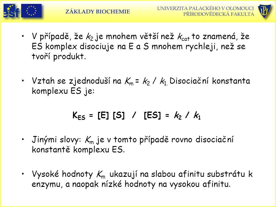 V případě, že k 2 je mnohem větší než k cat to znamená, že ES komplex disociuje na E a S mnohem rychleji, než se tvoří produkt. Vztah se zjednoduší na