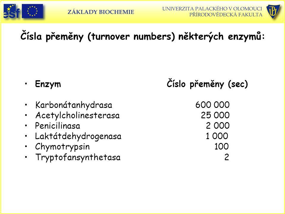 Čísla přeměny (turnover numbers) některých enzymů: Enzym Číslo přeměny (sec) Karbonátanhydrasa600 000 Acetylcholinesterasa 25 000 Penicilinasa 2 000 Laktátdehydrogenasa 1 000 Chymotrypsin 100 Tryptofansynthetasa 2