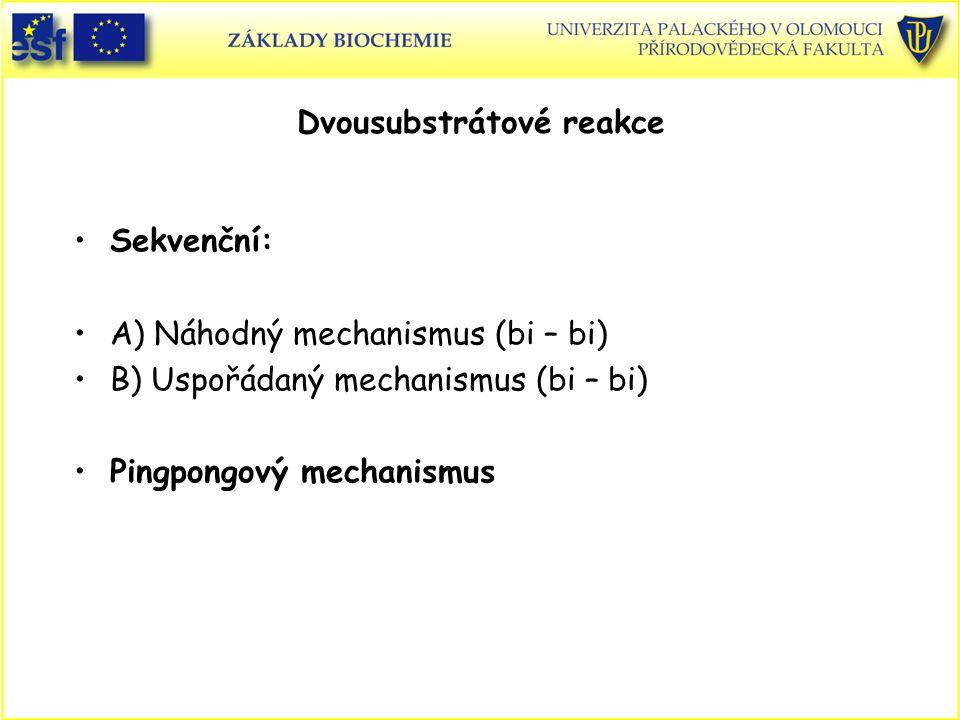 Sekvenční: A) Náhodný mechanismus (bi – bi) B) Uspořádaný mechanismus (bi – bi) Pingpongový mechanismus Dvousubstrátové reakce