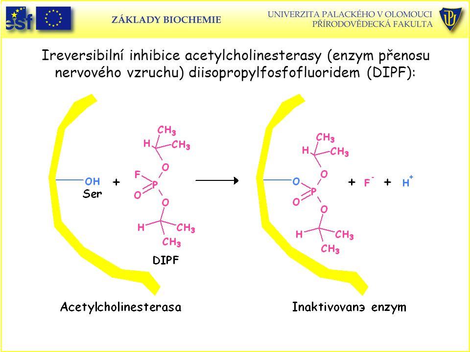 Ireversibilní inhibice acetylcholinesterasy (enzym přenosu nervového vzruchu) diisopropylfosfofluoridem (DIPF):