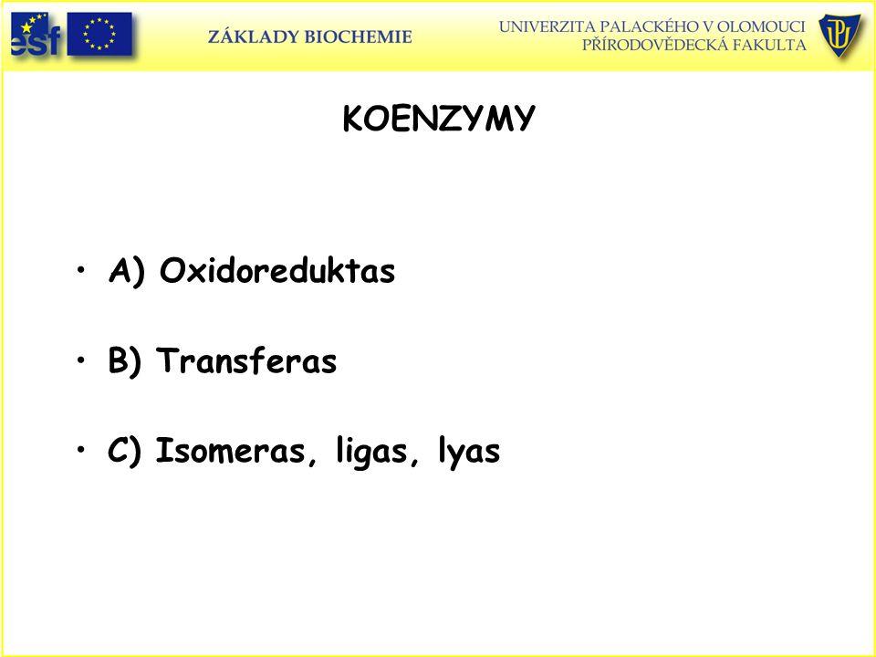 A) Oxidoreduktas B) Transferas C) Isomeras, ligas, lyas KOENZYMY
