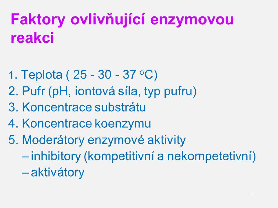 10 1. Teplota ( 25 - 30 - 37 o C) 2. Pufr (pH, iontová síla, typ pufru) 3. Koncentrace substrátu 4. Koncentrace koenzymu 5. Moderátory enzymové aktivi