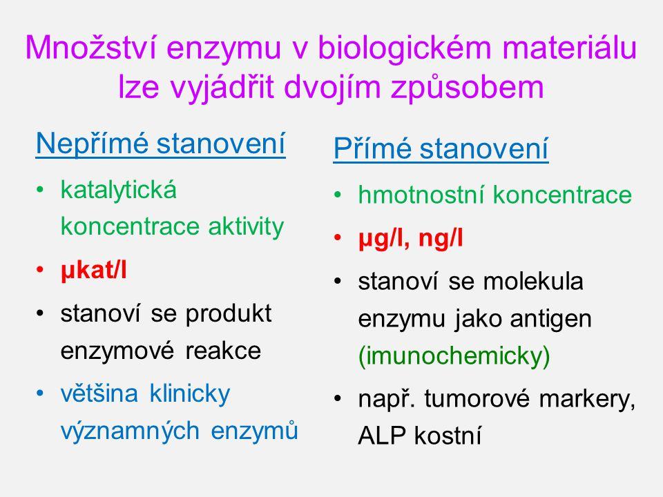 Množství enzymu v biologickém materiálu lze vyjádřit dvojím způsobem Nepřímé stanovení katalytická koncentrace aktivity μkat/l stanoví se produkt enzy