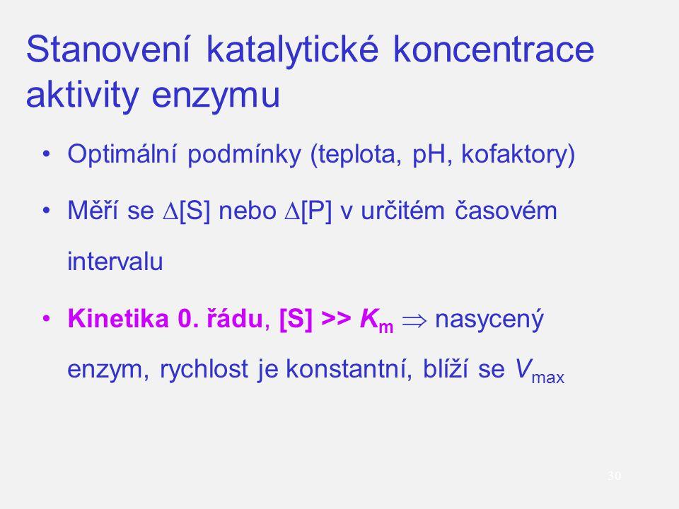Stanovení katalytické koncentrace aktivity enzymu Optimální podmínky (teplota, pH, kofaktory) Měří se  [S] nebo  [P] v určitém časovém intervalu Kin