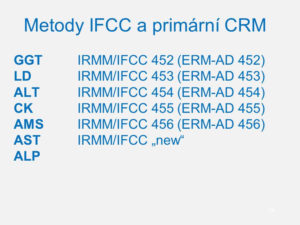 39 Metody IFCC a primární CRM GGT IRMM/IFCC 452 (ERM-AD 452) LD IRMM/IFCC 453 (ERM-AD 453) ALT IRMM/IFCC 454 (ERM-AD 454) CK IRMM/IFCC 455 (ERM-AD 455
