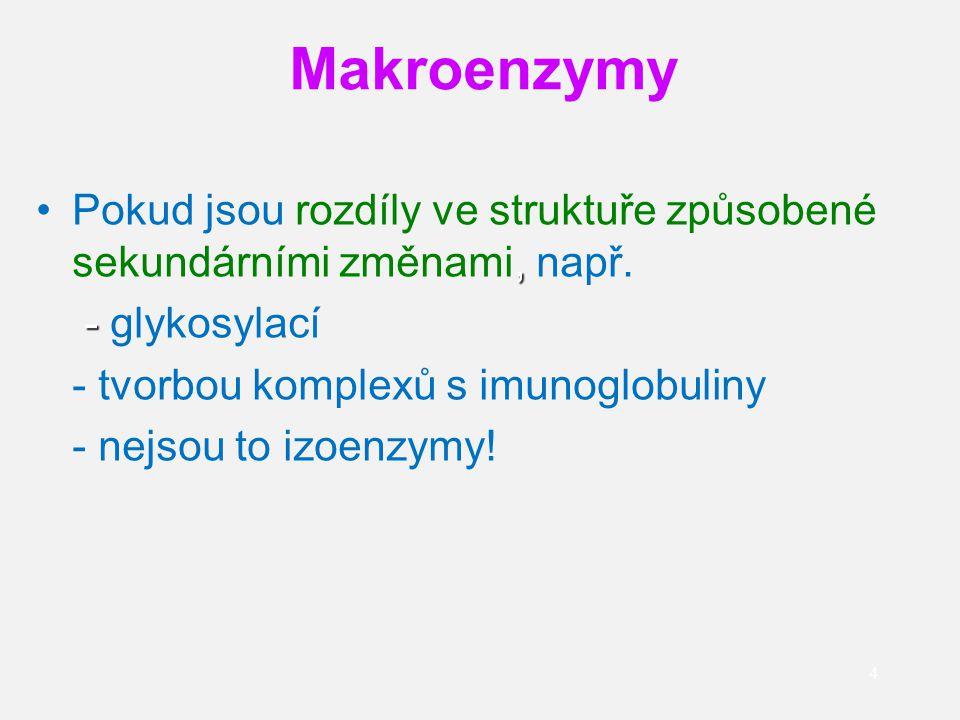 65 Izoenzymy CK CK se skládá ze 2 podjednotek (dimer; Mr=40 000) : M ( muscle) a B (brain) kombinací vznikají 3 izoenzymy:CK-MM, CK-MB, CK-BB je možné detekovat i makroenzym: CK- makro Izoformy izoenzymů: vznikají odštěpením koncových lysinových molekul CK-MB1 (žádný lysin) a CK-MB2 (1 lysin) CK-MM1 (žádný lysin), CK-MM2 (1 lysin) a CK-MM3 (2 lysiny)