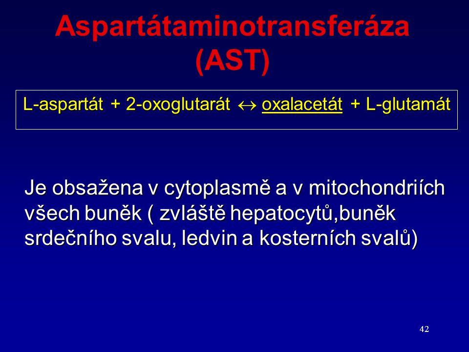 42 Aspartátaminotransferáza (AST) L-aspartát + 2-oxoglutarát  oxalacetát + L-glutamát Je obsažena v cytoplasmě a v mitochondriích všech buněk ( zvláš