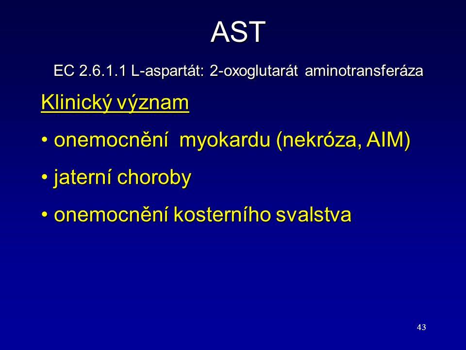 43 AST EC 2.6.1.1 L-aspartát: 2-oxoglutarát aminotransferáza Klinický význam onemocnění myokardu (nekróza, AIM) jaterní choroby onemocnění kosterního