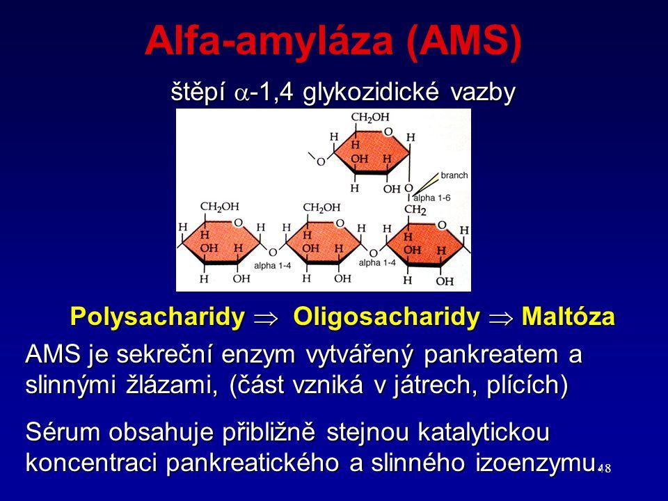 48 Alfa-amyláza (AMS) štěpí  -1,4 glykozidické vazby Polysacharidy  Oligosacharidy  Maltóza AMS je sekreční enzym vytvářený pankreatem a slinnými ž