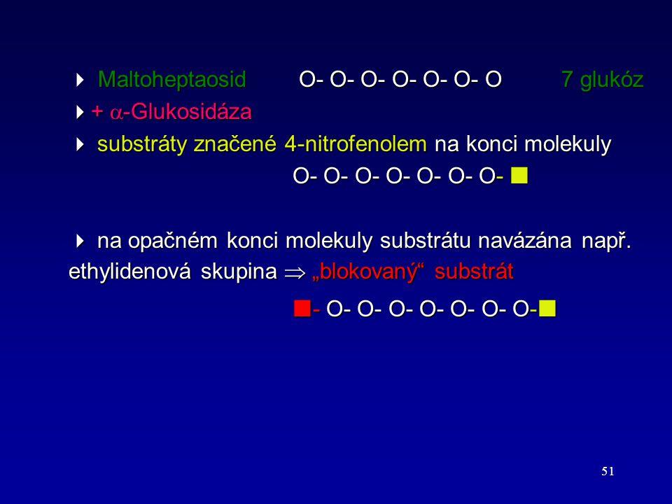 51 Maltoheptaosid Ο- Ο- Ο- Ο- Ο- Ο- Ο7 glukóz  Maltoheptaosid Ο- Ο- Ο- Ο- Ο- Ο- Ο7 glukóz  +  -Glukosidáza  substráty značené 4-nitrofenolem na ko