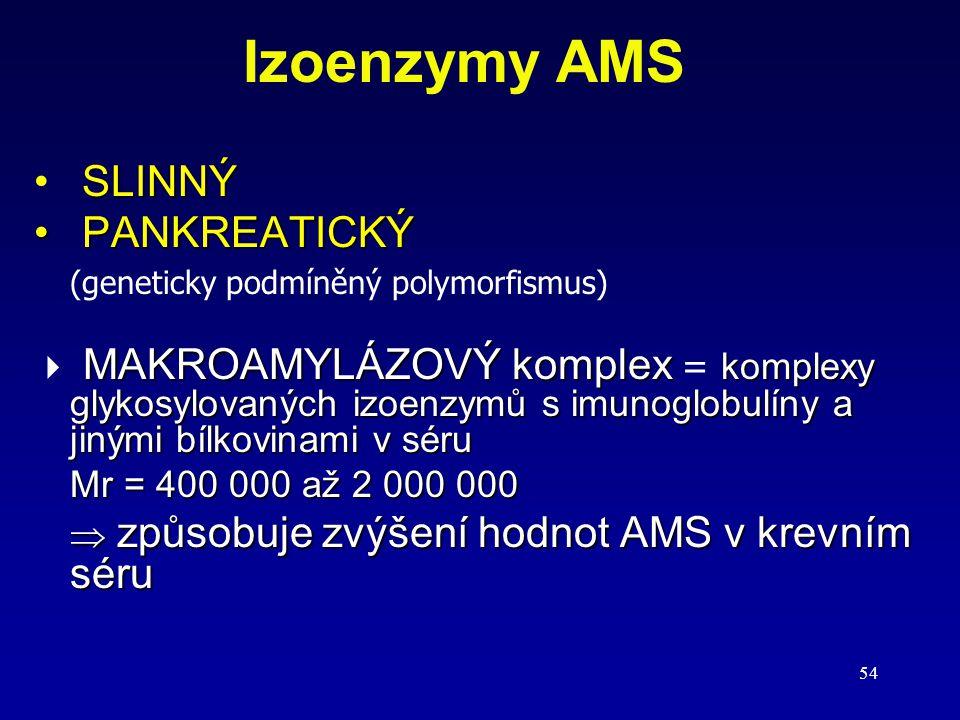 54 Izoenzymy AMS SLINNÝ PANKREATICKÝ PANKREATICKÝ (geneticky podmíněný polymorfismus) MAKROAMYLÁZOVÝ komplex komplexy glykosylovaných izoenzymů s imun