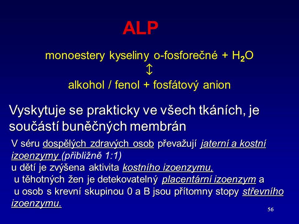 56 ALP monoestery kyseliny o-fosforečné + H 2 O  alkohol / fenol + fosfátový anion V séru dospělých zdravých osob převažují jaterní a kostní izoenzym