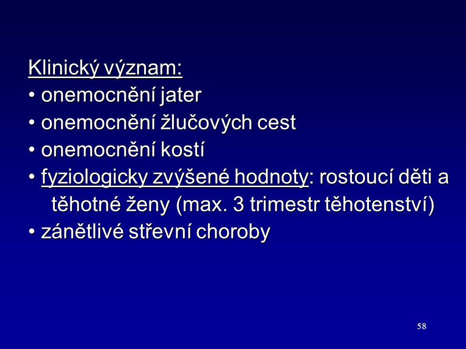 58 Klinický význam: onemocnění jater onemocnění jater onemocnění žlučových cest onemocnění žlučových cest onemocnění kostí onemocnění kostí fyziologic