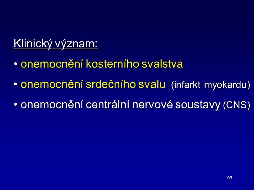 63 Klinický význam: onemocnění kosterního svalstva onemocnění kosterního svalstva onemocnění srdečního svalu (infarkt myokardu) onemocnění srdečního s