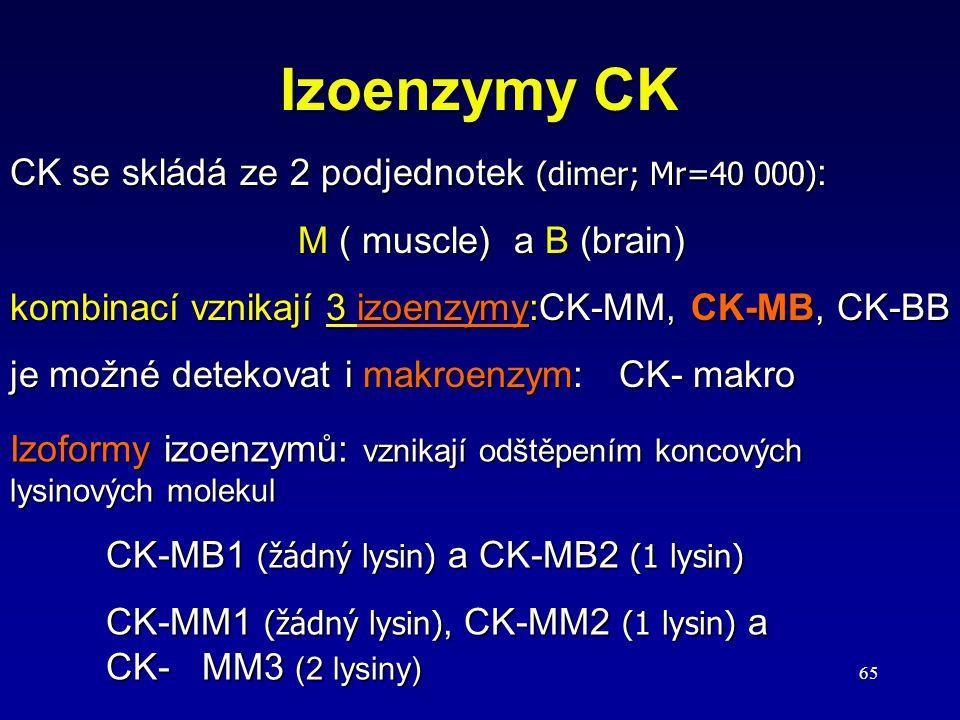 65 Izoenzymy CK CK se skládá ze 2 podjednotek (dimer; Mr=40 000) : M ( muscle) a B (brain) kombinací vznikají 3 izoenzymy:CK-MM, CK-MB, CK-BB je možné