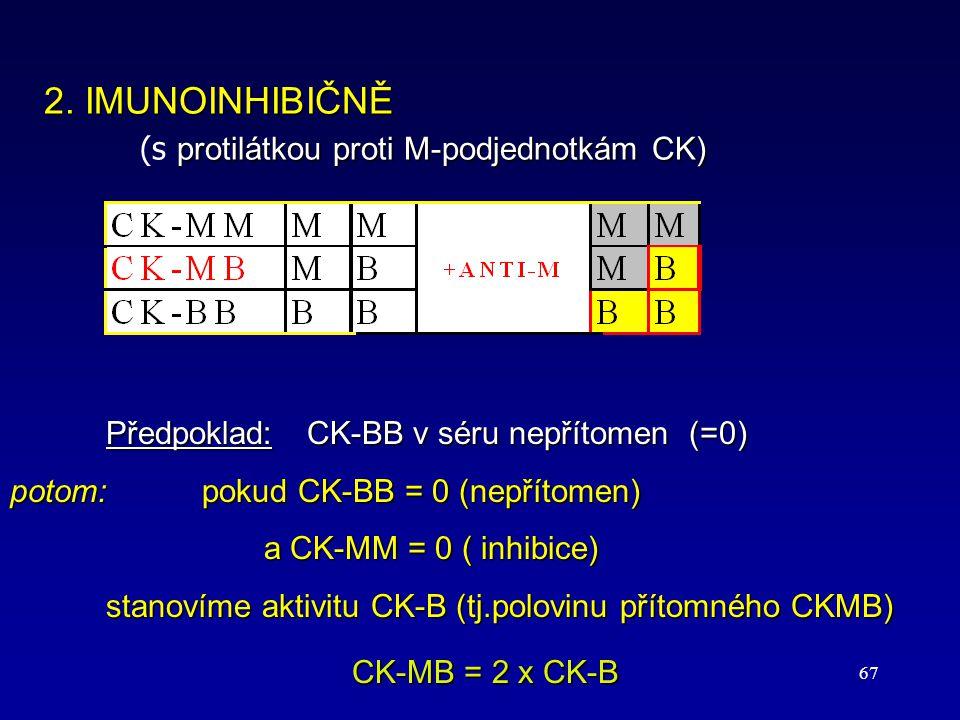 67 Předpoklad: CK-BB v séru nepřítomen (=0) potom:pokud CK-BB = 0 (nepřítomen) a CK-MM = 0 ( inhibice) a CK-MM = 0 ( inhibice) stanovíme aktivitu CK-B