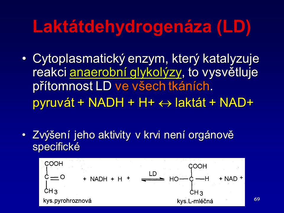 69 Laktátdehydrogenáza (LD) Cytoplasmatický enzym, který katalyzuje reakci anaerobní glykolýzy, to vysvětluje přítomnost LD ve všech tkáních.Cytoplasm