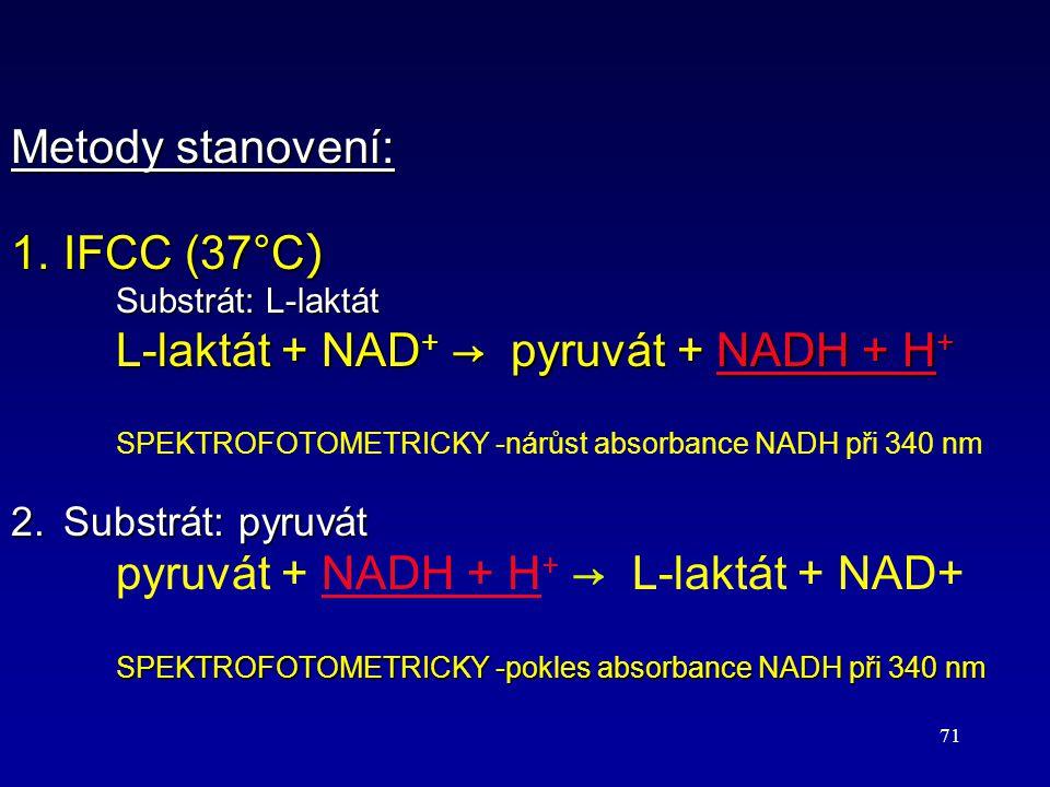 71 Metody stanovení: 1.IFCC (37°C ) Substrát: L-laktát L-laktát + NAD + → pyruvát + NADH + H + 1.IFCC (37°C ) Substrát: L-laktát L-laktát + NAD + → py