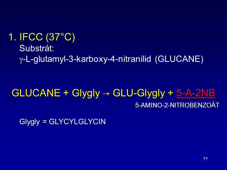 77 1.IFCC (37°C) Substrát:  -L-glutamyl-3-karboxy-4-nitranilid (GLUCANE) GLUCANE + Glygly → GLU-Glygly + 5-A-2NB 5-AMINO-2-NITROBENZOÁT Glygly = GLYC